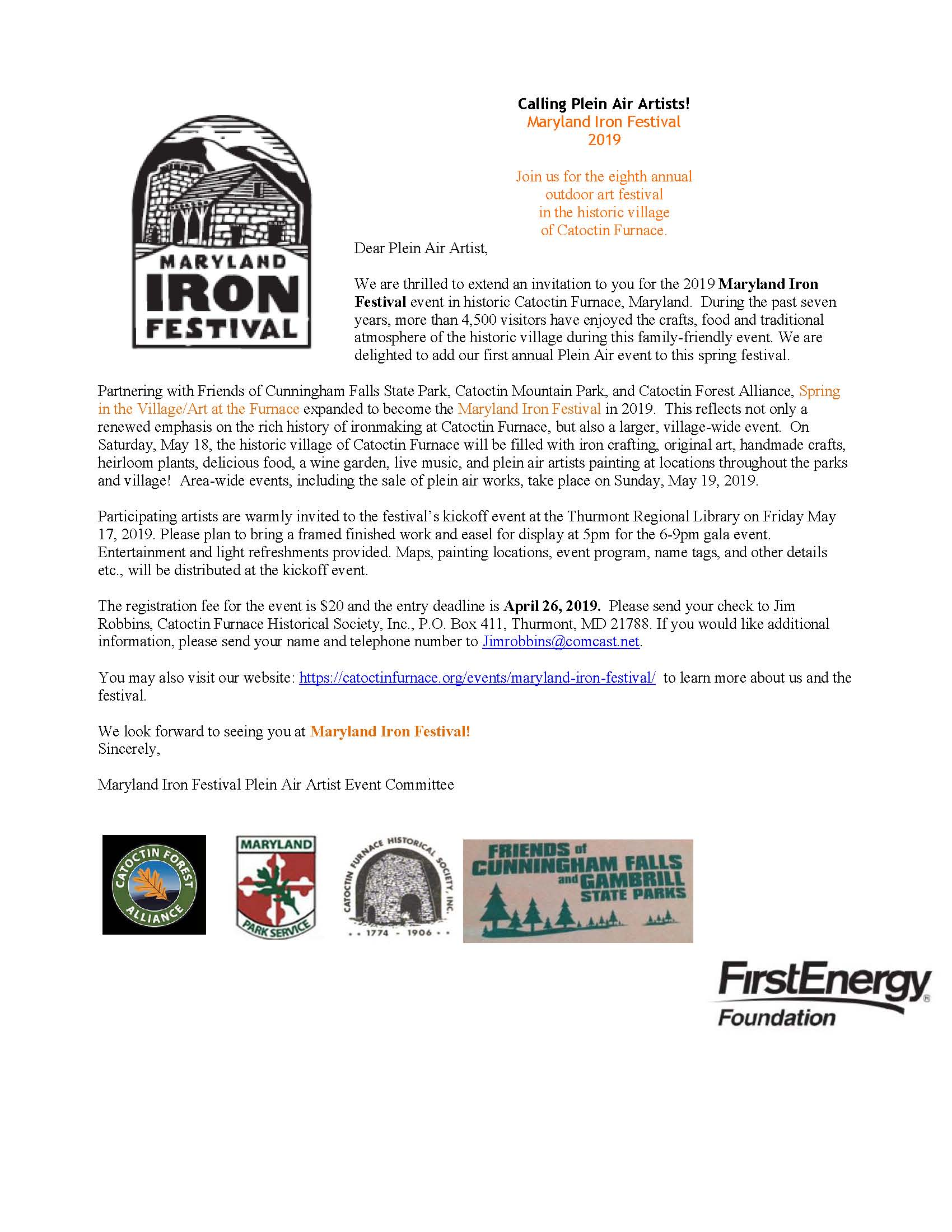 Plein AIr Maryland Iron Festival LettertoArtists2019 rev